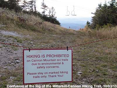 A sign prohibiting entry to the top of the Mittersill-Cannon Trail